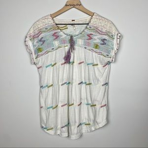 Free People | Colorful Stitching Front Tassel Top
